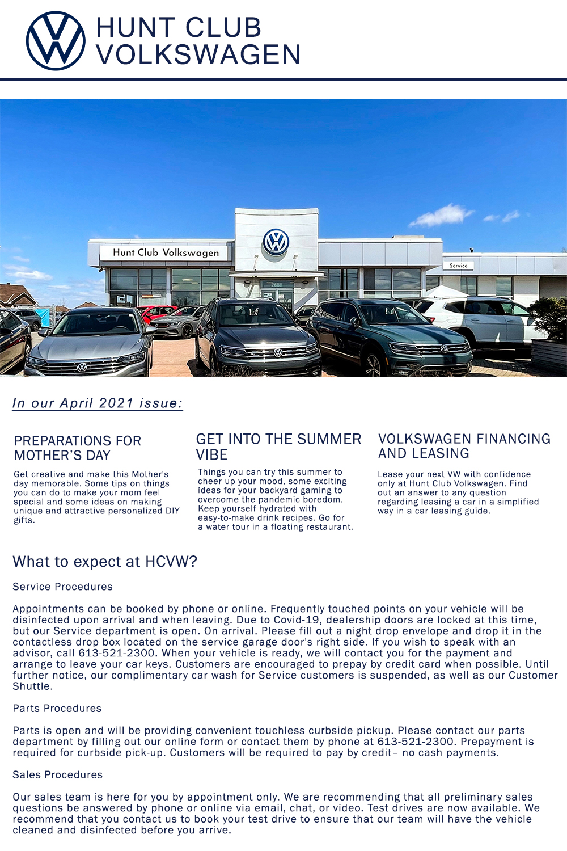 Hunt Club VW April 2021 Newsletter